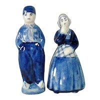 Blue White Delft Dutch Couple Salt Pepper Shakers