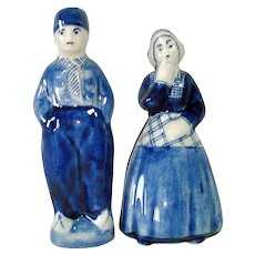 Blue White Delft Dutch Couple Salt Pepper Shakers