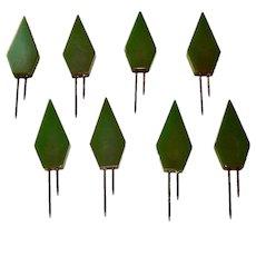 Green Bakelite Kob Knobs Corn Holders, Set of 8