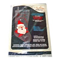 Edna Looney Denim Santa Christmas Stocking Needlework Kit