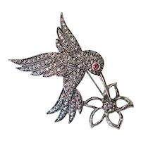 Avon Marcasite Hummingbird Flower Brooch Pin