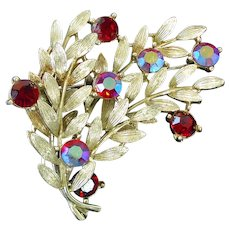 Lisner Layered Leafy Branches Red Rhinestone Brooch Pin