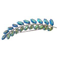 B David Rhinestone Blue Feather Leaf Stem Brooch Pin
