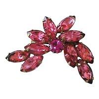 Pink Navette Rhinestone Stylized Flower Brooch Pin