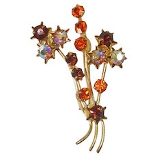 Austrian Fall Colors Rhinestone Flowering Branch Brooch Pin