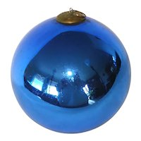 Antique Large Cobalt Blue German Glass Kugel Christmas Ornament