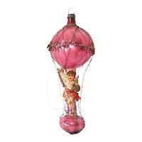 Antique German Wire Wrap Balloon Ornament Scrap Angel Rider