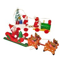 Painted Wood Santa Sleigh and Train Christmas Ornaments