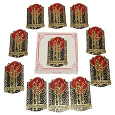 1926 Box Metal Christmas Package Seals Art Deco Candles