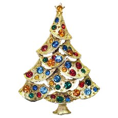 Rhinestone Jeweled Christmas Tree Brooch Pin