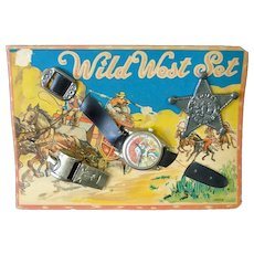1950s Wild West Set Toy, Watch, Badge, Whistle