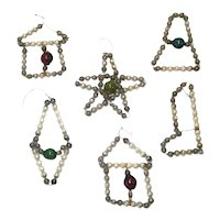 Miniature Wired Mercury Beaded Glass Christmas Ornaments