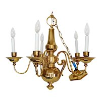 Elegant Gleaming Brass 5 Arm Chandelier