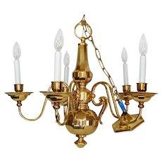 Elegant Gleaming Brass 5 Arm Chandelier