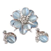 Reis CRC White Gold Filled Blue Flower Brooch Earrings Set