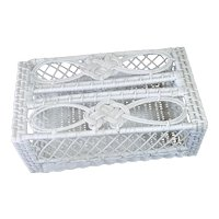 White Wicker Vanity Tissue Box Cover