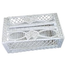 White Wicker Vanity Tissue Box Cover