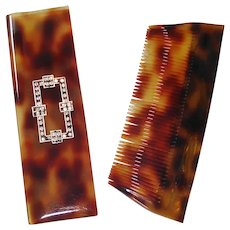 Rhinestone Embellished Faux Tortoiseshell French Comb and Case