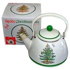 Spode Christmas Tree Enamel Tea Kettle Mint in Box