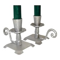 Pair Everlast Hammered Aluminum Candlesticks