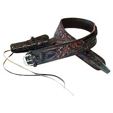 Tooled Leather 38/357 Ammo Belt With Holster Size 46