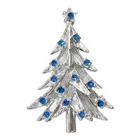 Blue Rhinestones Silvertone Christmas Tree Brooch Pin