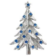 Blue Rhinestones Silvertone Christmas Tree Brooch Pin