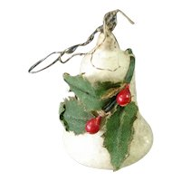 Antique Spun Cotton Bell With Holly Christmas Ornament