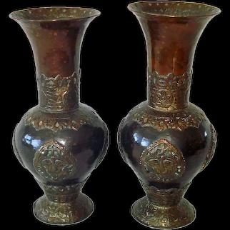 Pair Antique Tibetan Copper And Bronze Vases
