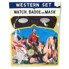 1950s Western Play Set Toy Mask Badge Watch Never Used