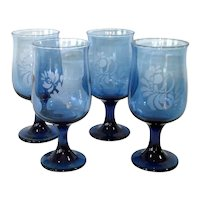 Pfaltzgraff Folk Art Blue Glass Water Goblets Set of 4