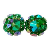 Vogue Green AB Crystal Cluster Clip Earrings