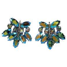 B David Light Green Crown Rhinestone Clip Earrings