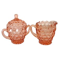 Indiana Whitehall Peach Glass Creamer and Sugar