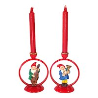 German Plastic Gnome Elf in Ring Christmas Candlesticks