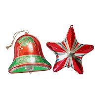 1930s USA Tin Litho Bell, Star Metal Christmas Ornaments