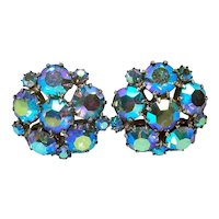 Weiss Blue AB Rhinestone Cluster Clip Earrings