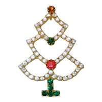Open Rhinestone Christmas Tree Brooch Pin