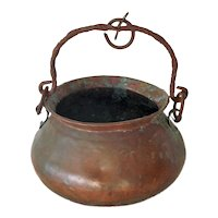 Antique Copper Fireplace Cooking Kettle Pot