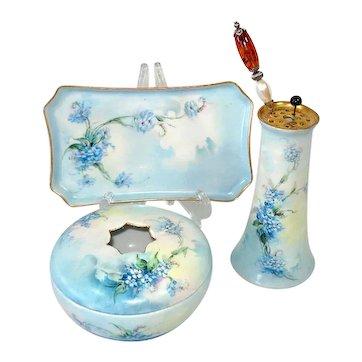 Antique Heinrich Bavaria Blue Floral Porcelain Vanity Set