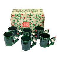 Boxed Set Lefton Christmas Pixie Elf Mugs