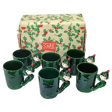 Boxed Set Lefton Christmas Pixie Elf Mugs