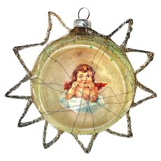 Scrap Angel Indent Glass Christmas Ornament in Tinsel Star