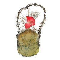 Victorian Wire Wrap Glass Christmas Ornament With Flower