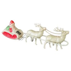 1930s Celluloid Christmas Santa, Sleigh, Reindeer Toy