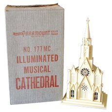 Paramount Raylite 1950s Musical Lighted Christmas Church In Box