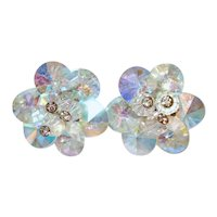Vendome Rivoli AB Crystal Pinwheel Clip Earrings