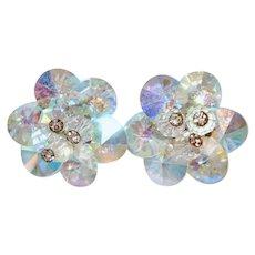 Vendome Rivoli AB Crystal Pinwheel Clip Earrings