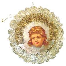 Angel Paper Scrap Tinsel Christmas Ornament