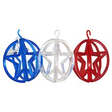 Red Blue Transparent Plastic Star in Ring Christmas Ornaments